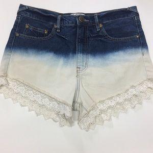 Free People dip dye bleach denim shorts crochet